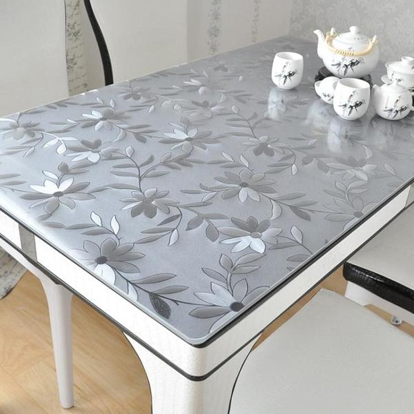 加厚pvc餐桌布防水防油耐高溫免洗茶幾墊塑料桌布透明磨砂水晶板 「夢幻小鎮」