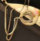 OL 時尚 氣質 鑲鑽 銀色 圓形 長款 項鍊 合金 雙圈 毛衣鏈 髮飾