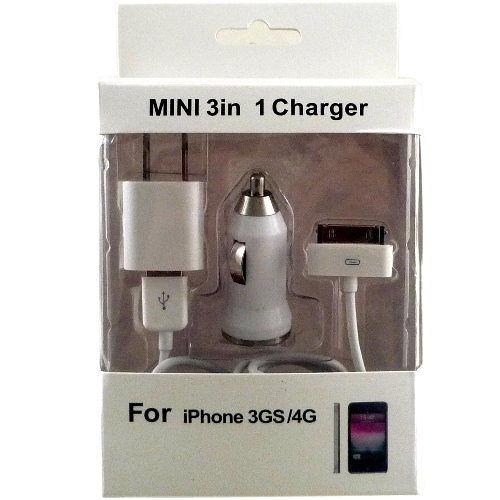 ◆最新款三合一◆APPLE iPhone 3 / 4 專用充電組 (旅充 車充 USB傳輸線)『免運優惠』