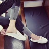 百搭半拖鞋女韓版休閒套腳平跟單鞋學生淺口包頭平底懶人鞋