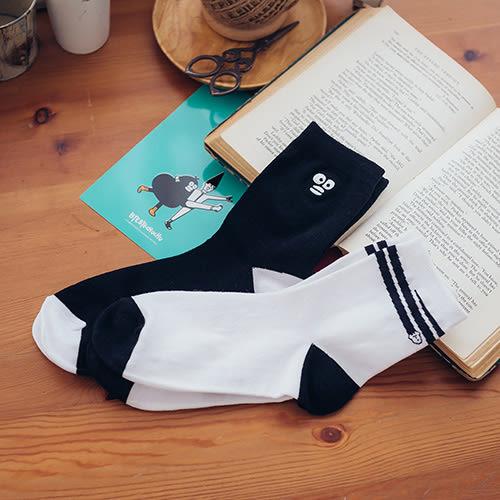 掰掰啾啾Byebyechuchu 黑x白造型短襪(2入組)