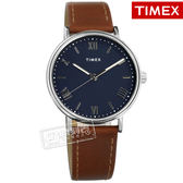 TIMEX 天美時 / TXTW2R63900 / 美國第一品牌 羅馬時標 夜光 真皮手錶 藍x咖啡 41mm