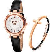 附贈手環 Folli Follie BUBBLE 優雅城市女仕套組-銀x黑色錶帶 WF16R009SPS-BK+3B13T019RK