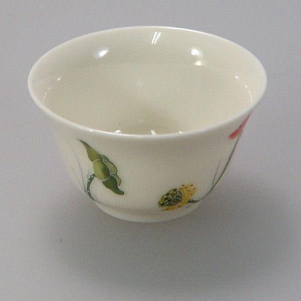 鹿港窯~居家開運商品~三希(台灣製)彩荷浮雕(線塑)茶杯;購物清單:1個杯子