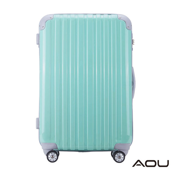 AOU 蜜糖甜心 20吋TSA海關鎖PC鏡面登機行李箱旅行箱(清綠)90-009C
