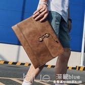 時尚韓版男包 信封包手包 復古文件包商務休閒男包手拿公文包 深藏blue