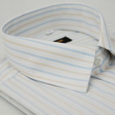 【金‧安德森】白底藍橘條紋相間長袖襯衫