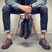 大碼皮鞋 大頭鞋 工裝鞋 時尚牛筋底真皮鞋【五巷六號】x257
