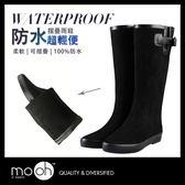 長筒雨鞋 歐美搭扣柔軟絨面可折疊輕量雨靴 mo.oh (歐美鞋款)