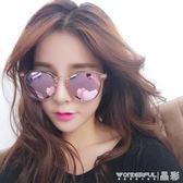 墨鏡 網紅同款女士粉色太陽鏡圓臉長透明墨鏡女潮新款眼鏡  晶彩生活