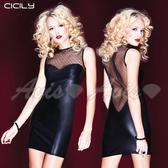 情趣用品 虐戀精品CICILY-夜店焦點-網紗美背 塗膠漆皮性感彈力緊身裙