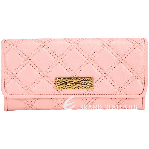 MARC JACOBS DOUBLE GROOVE 金屬牌飾菱格車縫線釦式長夾(粉色) 1410466-05