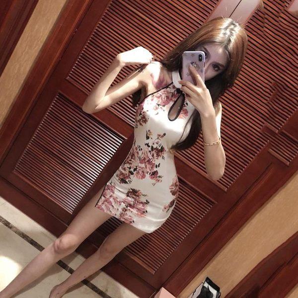 店長推薦 中國風改良旗袍連身裙女春裝2019新款性感女裝日常短款露背包臀裙