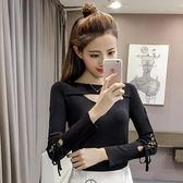 秋季新款時尚圓領長袖鏤空系帶純色針織衫修身套頭打底衫上衣