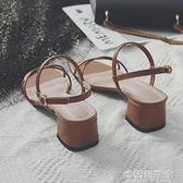 涼鞋女年新款百搭仙女風中跟粗跟高跟一字帶扣細帶羅馬涼鞋女 快速出貨