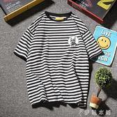 夏季條紋短袖T恤男士修身體恤上衣服韓版學生潮流男裝   伊鞋本鋪