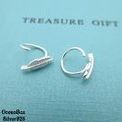 §海洋盒子§質感葉子針式圈圈925純銀耳環