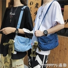 牛仔包 帆布包女潮牛仔布側背包學生韓版chic復古簡約百搭斜背包 晶彩 99免運