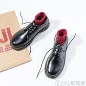 黑色簡約平底小皮鞋女春季新款復古英倫學院風系帶圓頭牛津鞋 歌莉婭
