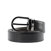 【MONT BLANC】亮面馬蹄形鍍釕針式雙面可用皮帶(黑色/棕色) 128803