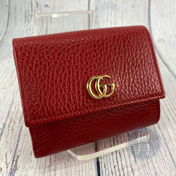 BRAND楓月 GUCCI古馳 524672 經典 紅色 皮革 金GG LOGO 三折 短夾 錢夾 錢包