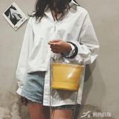 包包女潮透明手提單肩包正韓百搭斜背水桶包 樂芙美鞋
