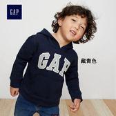 Gap男嬰幼童 logo連帽休閒上衣 兒童加絨長袖童裝 873766-藏青色