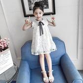 女童連身裙夏裝2018新款韓版兒童旗袍洋氣公主裙子蕾絲時尚露肩裙【小梨雜貨鋪】
