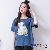 betty's貝蒂思 微透膚前印花T-shirt(深藍)