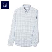 Gap男裝 商務翻領休閒長袖襯衫 男士上衣時尚襯衣職業裝 441129-淡藍色