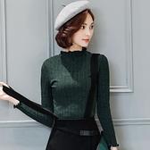 針織衫-長袖純色立領短款百搭女T恤3色73px49【巴黎精品】