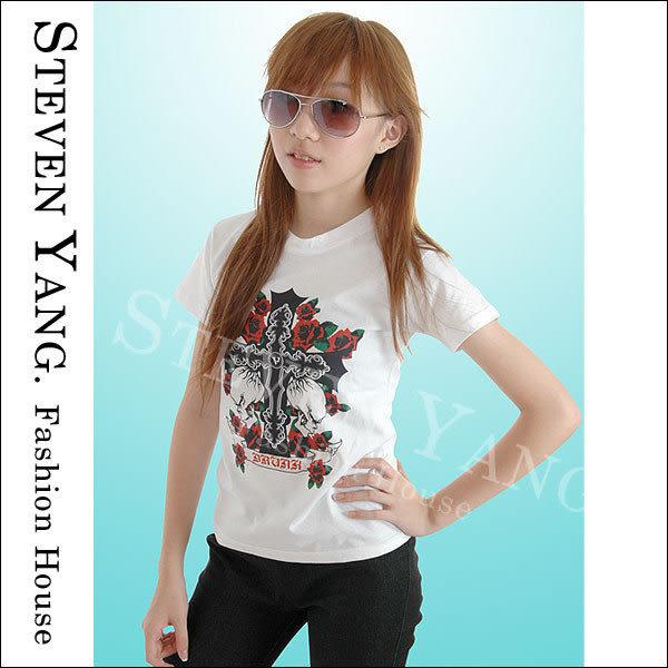 《STEVEN YANG》日系街頭嘻哈CL005 紅玫瑰十字骷髏頭 短版圓領棉T 時尚個性 白色