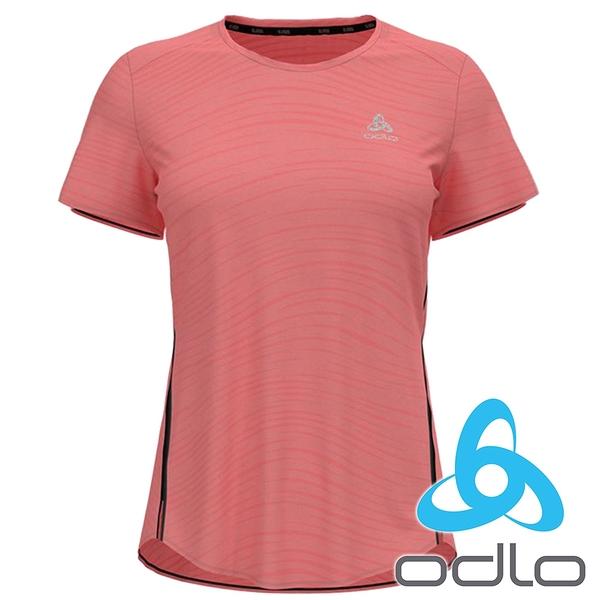 【ODLO瑞士】女 CT ENGINEERED圓領短袖T恤『甜憩紅麻花』313321 排汗 快乾 內衣 內著 運動 慢跑