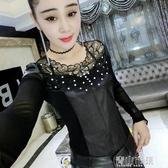 黑色打底衫女長袖PU皮韓版修身網紗上衣蕾絲衫小衫潮 青山市集