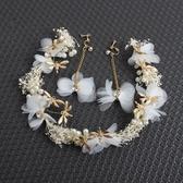 韓式森女新娘頭飾發箍滿天星干花蜻蜓花環婚紗發飾影樓結婚配飾品
