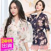 性感罩衫 黃/深藍 氣質花卉 連身外罩式半透情趣睡衣 仙仙小舖