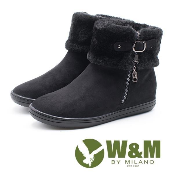 【南紡購物中心】W&M 經典毛絨反摺造型拉鍊式中筒 女靴-黑(另有藍)