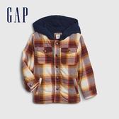 Gap男幼童 創意格紋紐扣拉鍊連帽夾克 616921-白色