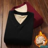 加絨加厚男士毛衣v領新款韓版純色體恤修身厚款保暖男裝衣服