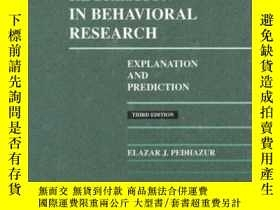 二手書博民逛書店Multiple罕見Regression In Behavioral ResearchY255562 Elaz