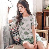 睡衣女士夏季韓版棉質清新可愛短袖套裝性感學生家居服蕾絲加大碼【快速出貨八折優惠】