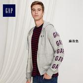 Gap男裝 Logo活力風格拉鏈連帽長袖休閒外套 373719-麻灰色