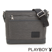 PLAYBOY- 下沉式斜背包 GENTLE系列-斜紋灰