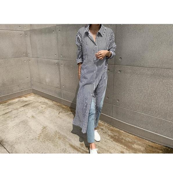 韓版過膝寬鬆開叉顯瘦上衣 中長款條紋長版襯衫女 依米迦