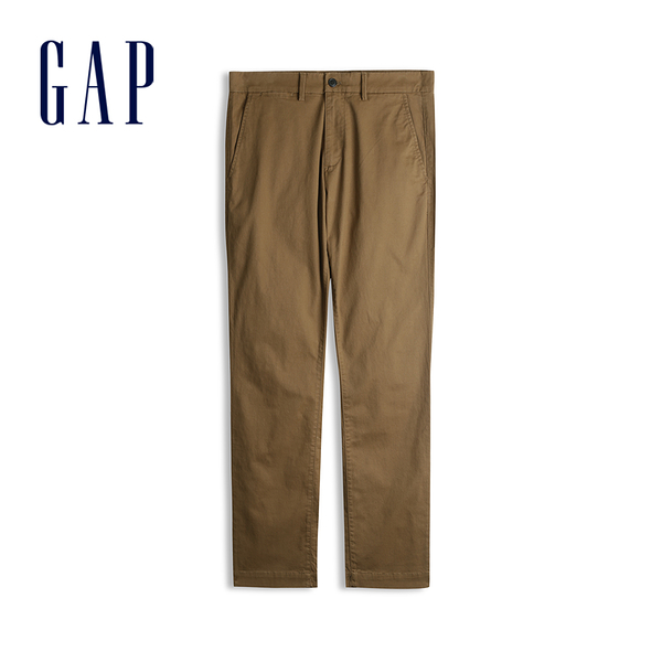Gap男裝棉質微彈直筒型休閒褲500359-棕色
