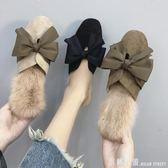 網紅拖鞋女秋外穿2018新款韓版百搭兔毛半拖包頭時尚毛毛穆勒鞋冬 米蘭街頭
