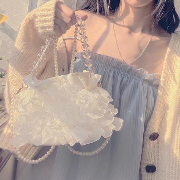 復古單肩手提仙女包2021夏天溫柔斜挎仙氣包包迷你水桶包搭裙子配 小艾新品