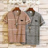 夏季新款男士圓領印花上衣韓版休閒純色短袖t恤潮流夏季寬鬆衣服     易家樂