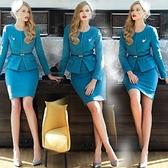 毛呢OL套裝(裙裝)-優雅圓領修身包臀時尚女兩件式套裝2色72j37[巴黎精品]