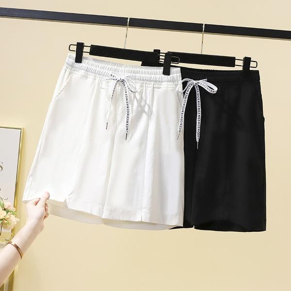 鬆緊腰短褲大尺碼五分褲2XL-6XL高腰顯瘦松緊腰短褲闊腿寬松百搭五分女褲子3F124.211 胖丫